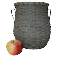 Superb 19th C. Urn Shaped Splint Basket in Original Paint