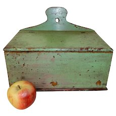 19th C. Pine Wall Box in Apple Green Paint