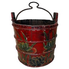 19th C. Norwegian Paint Decorated Well Bucket