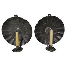 Beautiful Pair of Phil Kelly Tin Candle Sconces c. 1980