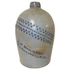 19th C. 2 gal. West Virginia Stoneware Jug w/ Blue Decoration
