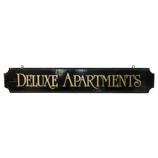 20th C. Deluxe Apartments Sign
