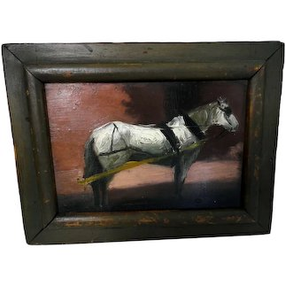 Dated 19th C. Oil on Board of Horse