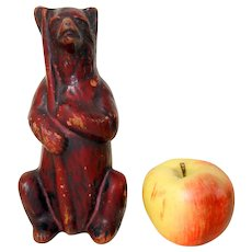 Rare 19th C. Painted Redware Bear Bank