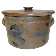 19th C. Blue Decorated PA Stoneware Cake Crock w/ Lid