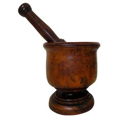 Exceptional 19th C. Burl Walnut Mortar & Pestle w/ Pedestal Base