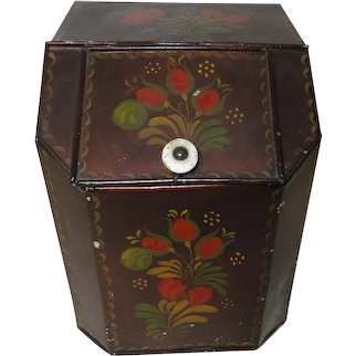 Tole Painted Tin Canister