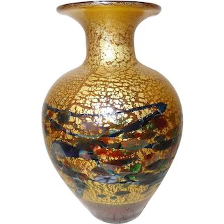 """5 1/2"""" Gold Art Glass Robert Held Vase Canada"""