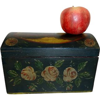 19th C. Domed Top French Letter Box w/ Original Paint Decoration