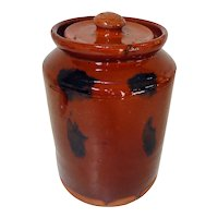 19th C. Manganese Decorated PA Redware Crock w/ Lid