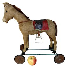 Small Early 20th C. Ride-On Hobby Horse