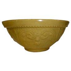 19th C. Yellow Ware Bowl w/ Embossed Design