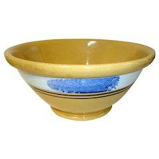 19th C. Mocha Yellow Ware Bowl w/ Blue Seaweed