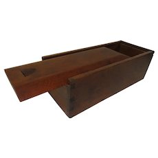 19th C. Dovetailed Walnut Slide Lid Candle Box