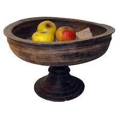 Early 19th C. Large Turned Wooden Compote