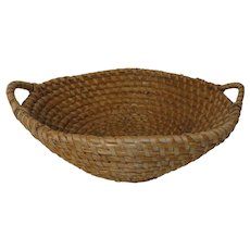 """Large 20"""" Handled 19th C. PA Rye Grass Coil Basket"""
