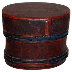 Outstanding 19th C. Paint Decorated Staved Wooden Box