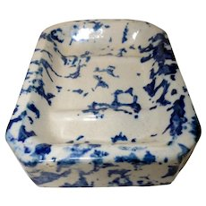 Early 20th C. Stoneware Soap Dish with Blue Sponge Decoration