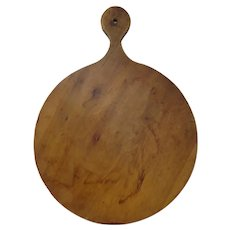 Late 19th C. Round Dough Board with Lollipop Handle
