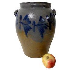 19th C. 4 Gal Pennsylvania Blue Decorated Stoneware Crock