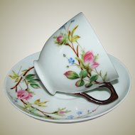 Antique Hand Painted Coffee Cup with Twig Handle and Saucer