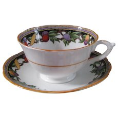 Star Paragon Teacup and Saucer with Fruit Decor