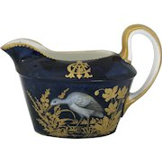 Heavily Gilded Antique Cobalt Cream or Sauce Pitcher with Monogram