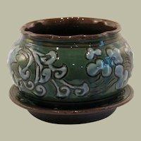 C.H. Brannam Studio Pottery Plant Pot and Saucer