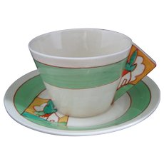 Clarice Cliff Stroud Solid Conical Handled Teacup and Saucer