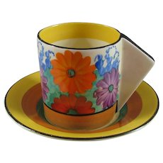 Clarice Cliff Gayday Coffee Can and Saucer