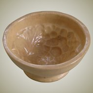 Antique Yellow Ware Food Mold with Grapes Format