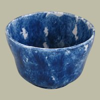 Antique Cobalt Sponge Ware Waste Bowl