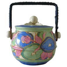 Clarice Cliff Blue Chintz Biscuit Barrel