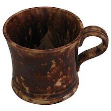 Antique Rockingham Glazed Yellow Ware Strap Handled Mug