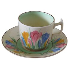 Clarice Cliff Spring Crocus Coffee Cup and Saucer