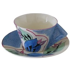 Clarice Cliff Blue Cowslip Solid Conical Handle Teacup and Saucer