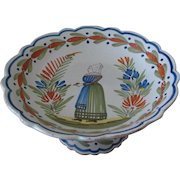Antique  Quimper Comport from the Eloury Porquier Pottery