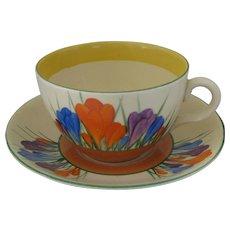 Clarice Cliff Autumn Crocus Large Teacup and Saucer