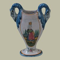 Swan-handled French Faience Vase from Malicorne