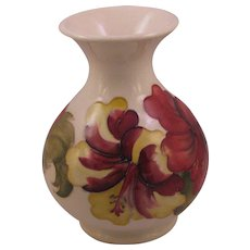 Walter Moorcroft Hibiscus Vase with Royal Warrant