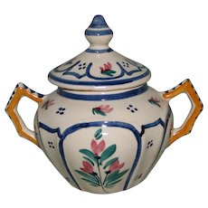 Vintage Quimper Lidded Sugar Bowl from the Grande Maison