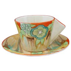 Clarice Cliff Lydiat  Conical Handled Coffee Cup and Saucer