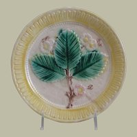 Antique Majolica Plate in Strawberry Leaf Motif with Rare Yellow Border