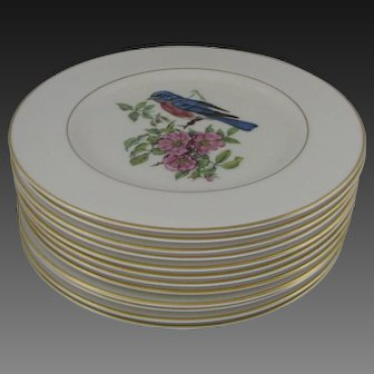 Pickard China Plates with Birds and Flowers in Sets