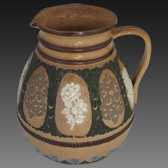 Antique Doulton Lambeth Stoneware Jug with Applied Decorations