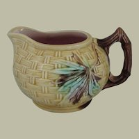 Majolica Bamboo and Basket Weave Small Pitcher