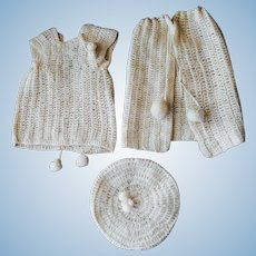 Three Piece Crochet Carriage Set: Hat, Sweater, Skirt--Vintage 1930's
