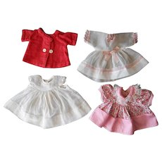 Vintage Dresses and a Coat for Small Baby Dolls