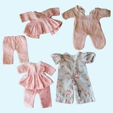 "Four Pair Vintage 1930-50's Flannel Pajamas, 9-12"" Dolls"