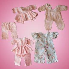 "Four Pair Vintage Flannel Pajamas, 9-12"" Dolls"